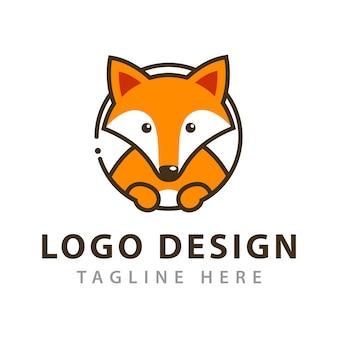 Diseño de logotipo simple de fox