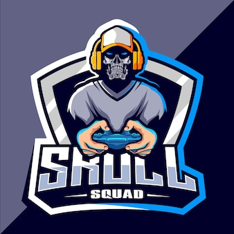 Diseño de logotipo skull gamer esport