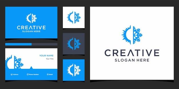 Diseño de logotipo de sol y hielo con plantilla de tarjeta de visita
