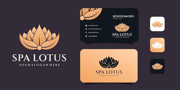 Diseño de logotipo de spa de loto femenino minimalista con plantilla de tarjeta de visita