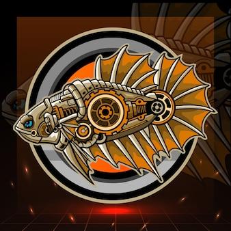 Diseño de logotipo steampunk betta fish mascot esport