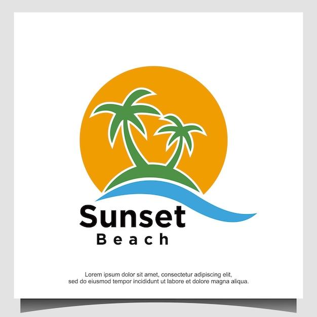 Diseño de logotipo sunset beach wave