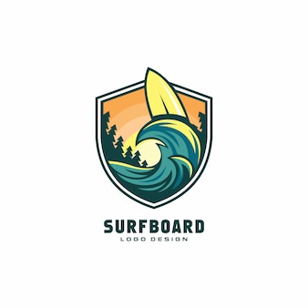 Diseño de logotipo de tabla de surf