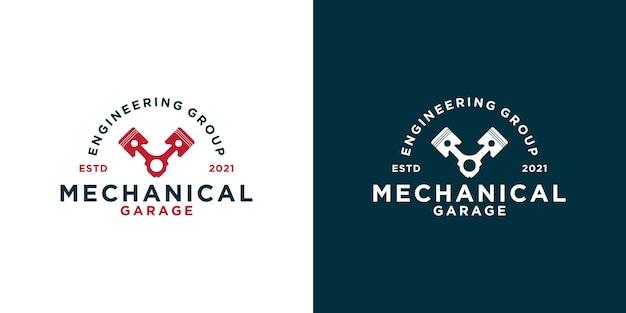 Diseño de logotipo de taller de garaje mecánico vintage creativo para su negocio