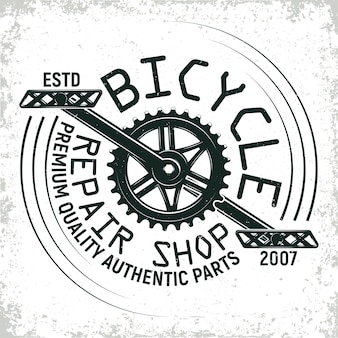 Diseño de logotipo de taller de reparación de bicicletas vintage, sello de impresión de grange, emblema de tipografía creativa