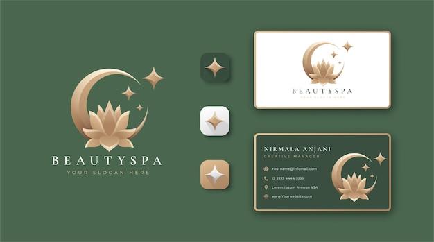 Diseño de logotipo y tarjeta de presentación de flor de loto eclipse