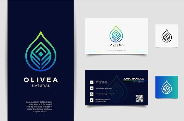 Diseño de logotipo y tarjeta de presentación con gota de agua / aceite de oliva