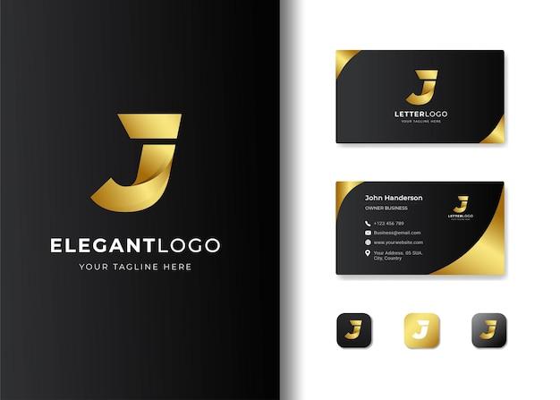 Diseño de logotipo y tarjeta de presentación con letra inicial de lujo j