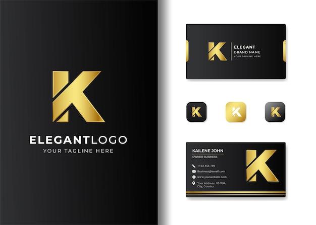 Diseño de logotipo y tarjeta de presentación con letra inicial de lujo k