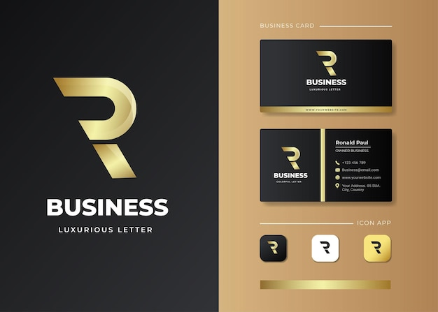 Diseño de logotipo y tarjeta de presentación con letra inicial de lujo r
