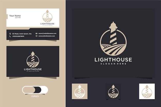 Diseño de logotipo y tarjeta de presentación de lighthouse