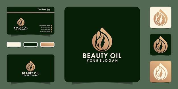 Diseño de logotipo y tarjeta de visita de aceite de belleza para mujer