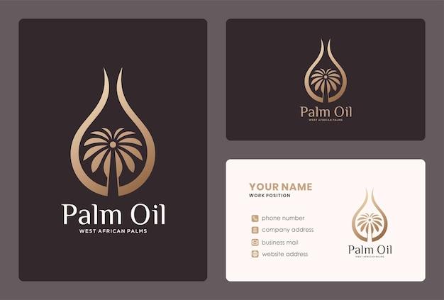 Diseño de logotipo y tarjeta de visita de aceite de palma tropical.