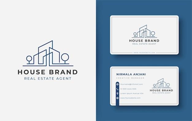 Diseño de logotipo y tarjeta de visita de la casa de arte de línea moderna