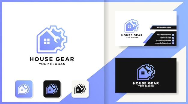 Diseño de logotipo y tarjeta de visita de la casa de engranajes de herramientas