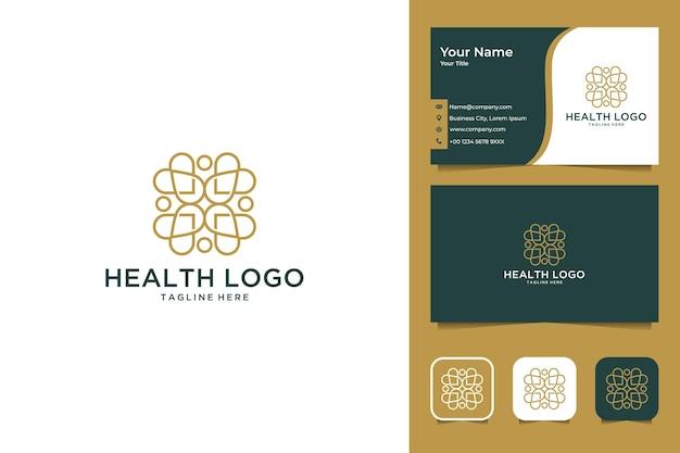 Diseño de logotipo y tarjeta de visita de estilo de arte de línea de salud de belleza