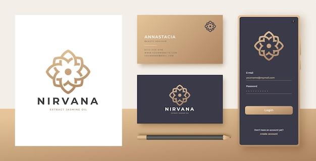 Diseño de logotipo y tarjeta de visita de flor de arte lineal.