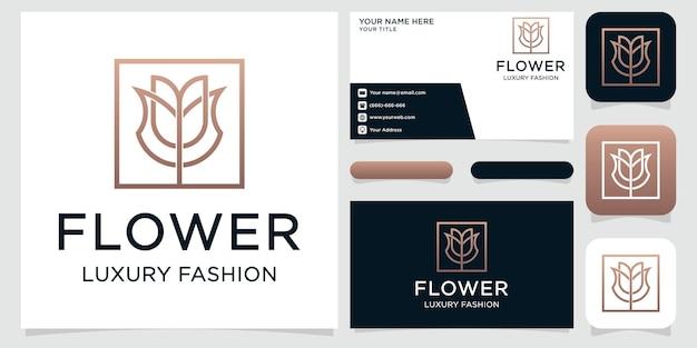 Diseño de logotipo y tarjeta de visita de flor rosa.