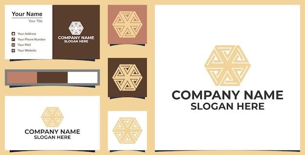 Diseño de logotipo y tarjeta de visita hexagonal de flor de arte lineal vector premium