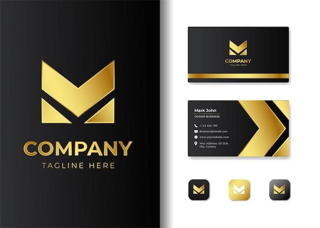 Diseño de logotipo y tarjeta de visita de la letra inicial m de lujo premium