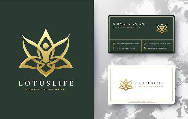 Diseño de logotipo y tarjeta de visita de loto dorado