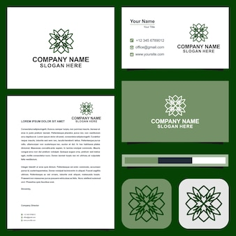 Diseño de logotipo y tarjeta de visita de lotus vector premium