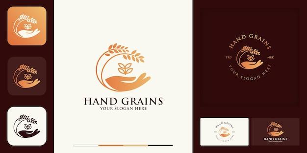 Diseño de logotipo y tarjeta de visita de mano de trigo o trigo