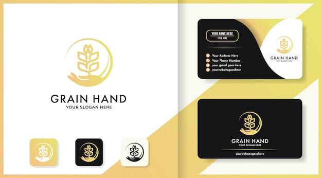 Diseño de logotipo y tarjeta de visita de semillas o granos de mano