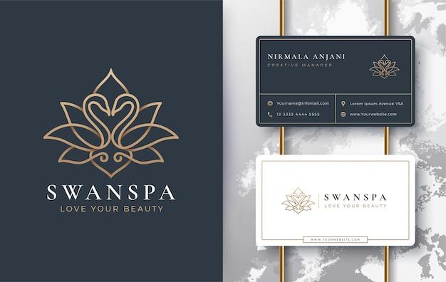 Diseño de logotipo y tarjeta de visita de swan lotus