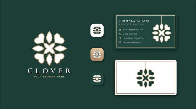 Diseño de logotipo y tarjeta de visita de trébol de lujo