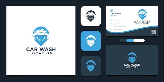 Diseño de logotipo y tarjeta de visita de ubicación de lavado de autos