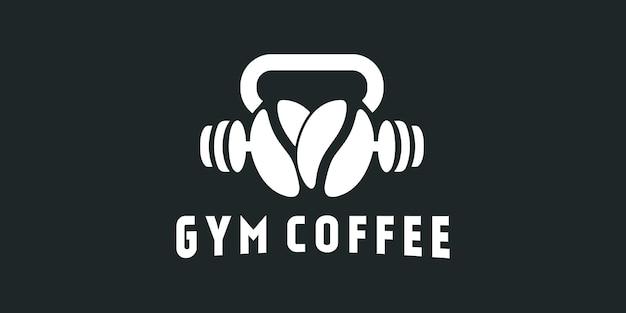 Diseño de logotipo de taza de café de gimnasio deportivo