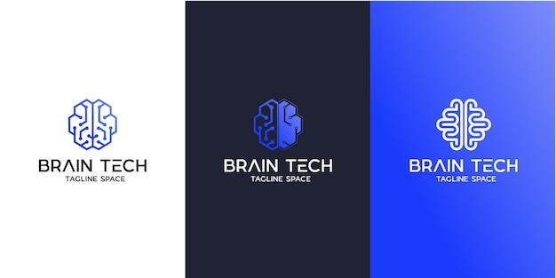 Diseño de logotipo de tecnología cerebral, diseño de logotipo de cerebro inteligente