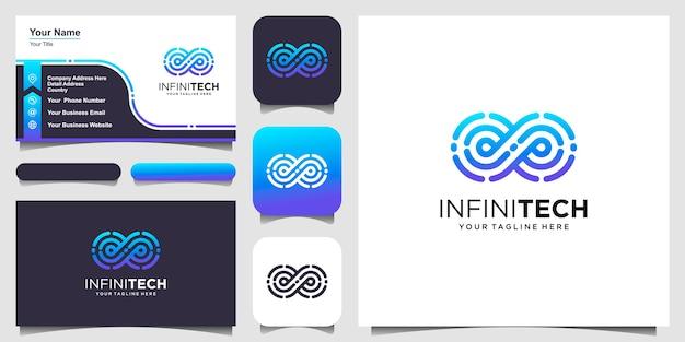Diseño de logotipo de tecnología digital infinita plantilla de vector lineal en bucle.