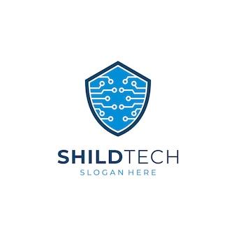 Diseño de logotipo de tecnología de escudo