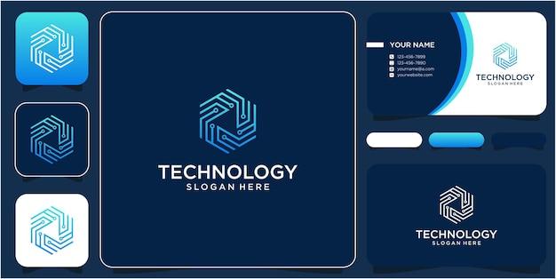 Diseño de logotipo tecnología hexagonal