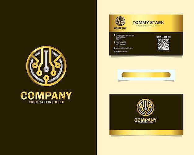 Diseño de logotipo de tecnología redondeada abstracta de lujo dorado con plantilla de tarjeta de visita de papelería