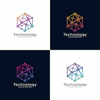 Diseño de logotipo tecnológico con color de opción