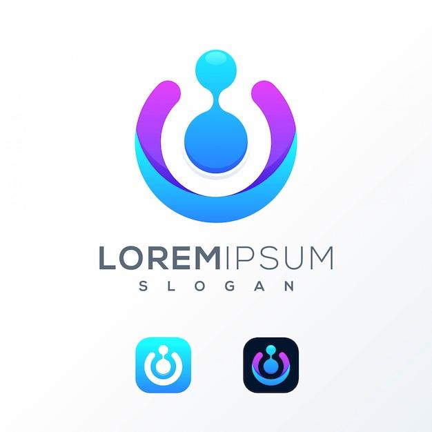 Diseño de logotipo tecnológico colorido listo para usar