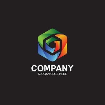 Diseño de logotipo tecnológico de forma hexagonal