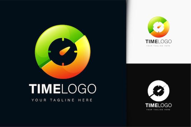 Diseño de logotipo de tiempo con degradado.