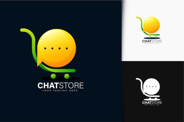 Diseño de logotipo de tienda de chat con degradado