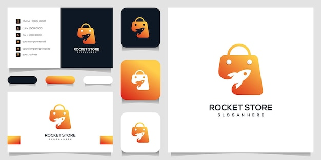 Diseño de logotipo de tienda de cohetes. cohete, bolso, compras en la nube, plantilla de logotipo, tarjeta de visita.