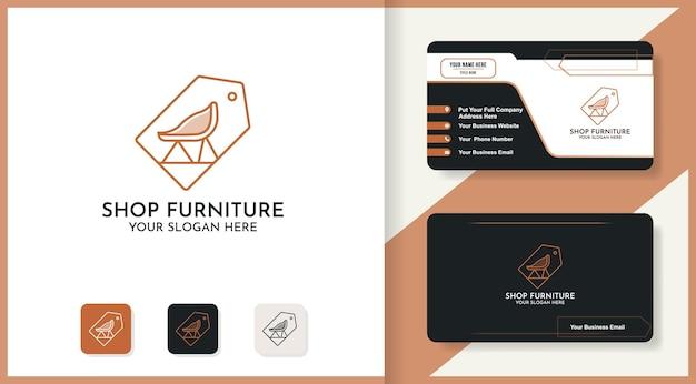 Diseño de logotipo de tienda de etiquetas de muebles y tarjeta de visita.