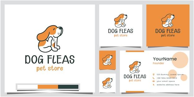 Diseño de logotipo de tienda de mascotas de pulgas de perro con tarjeta de visita