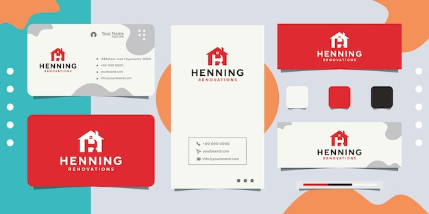 Diseño de logotipo de tienda de mejoras para el hogar y tarjeta de visita.