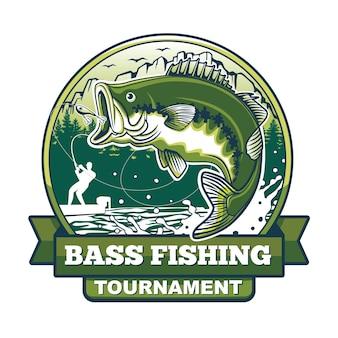 Diseño de logotipo de torneo de pesca de lubina de boca grande