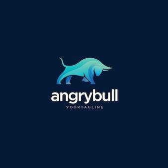 Diseño de logotipo de toro enojado con vector premium de estilo simple y moderno