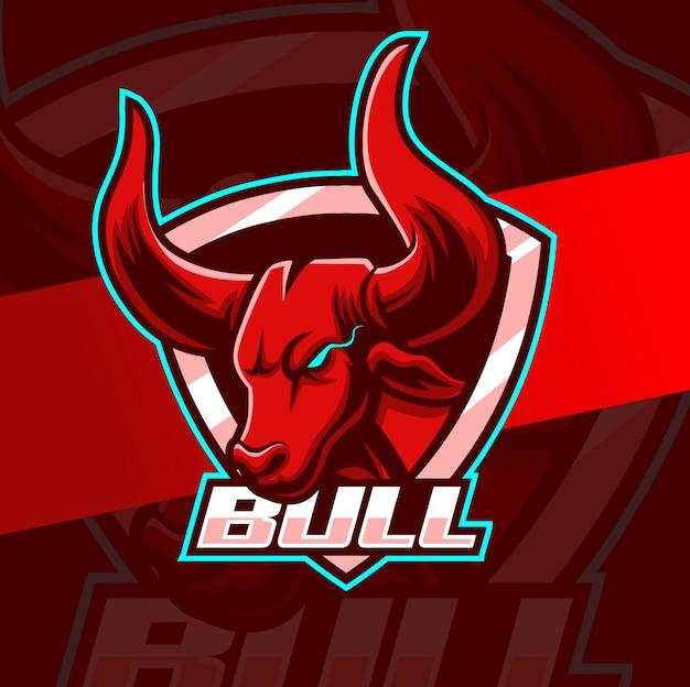 Diseño de logotipo de toro mascota esport