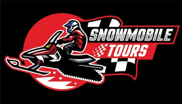 Diseño de logotipo de tour en moto de nieve